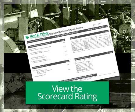 Reed & Prince May 2017 98% Supplier Scorecard Rating